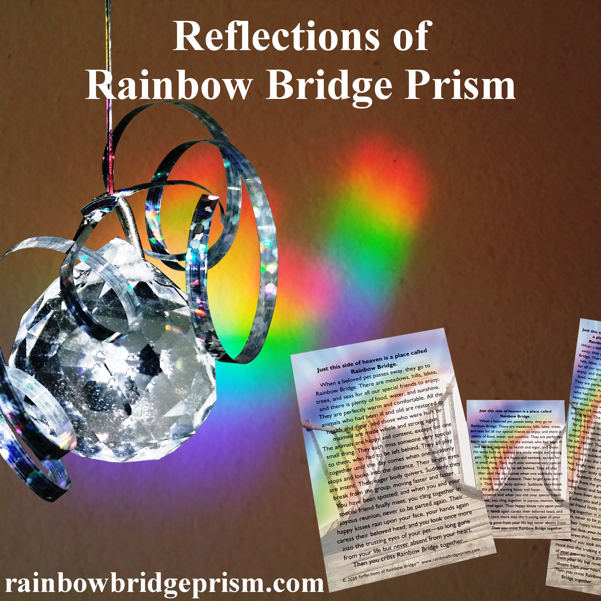 Memorial Pet Loss Products-Reflections of Rainbow Bridge Prism - Pet Memorials / Pet Loss Gift Sets