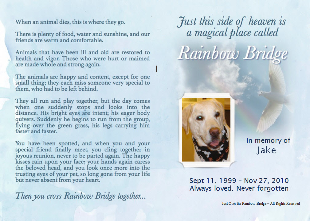 Rainbow Bridge Poem For Dogs Cats Personalized Pet Loss Poems